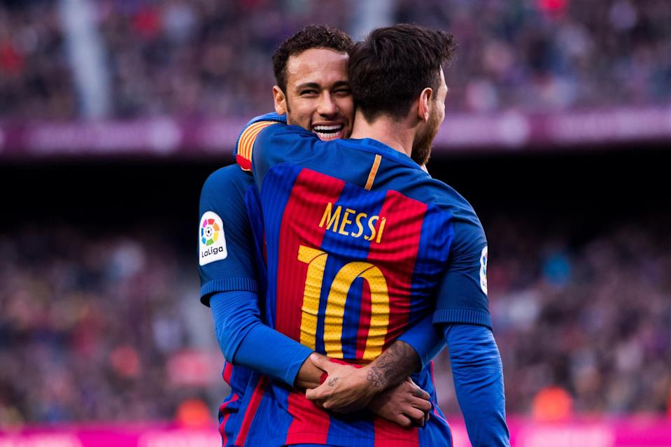 <p>Neymar and Lionel Messi previously played together at Barcelona for four years</p> (Getty Images)