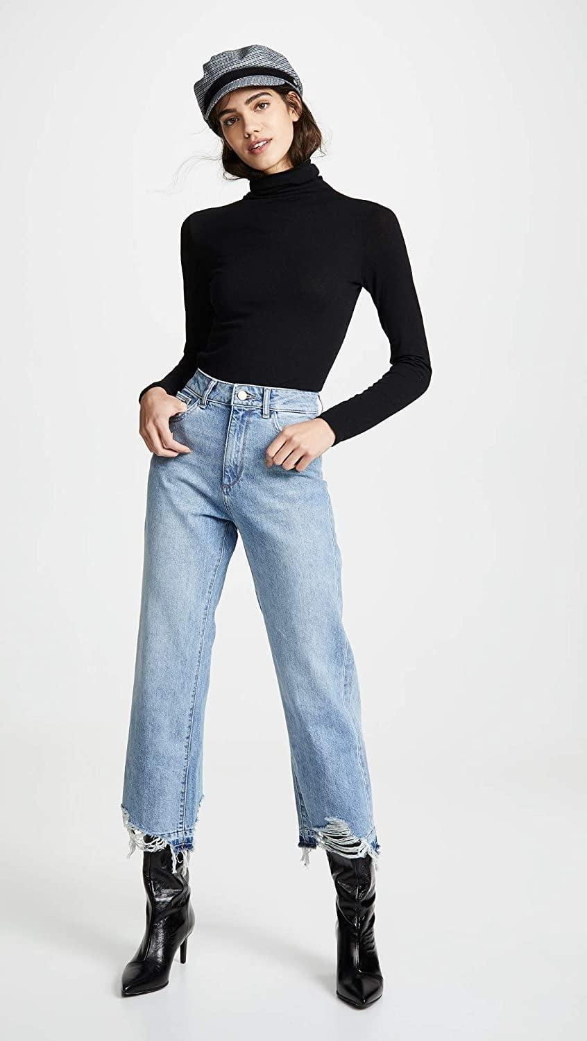 <p>These <span>DL1961 Hepburn High Rise Wide Leg Jeans</span> ($198) are so on trend right now. We're loving the distressed legs.</p>