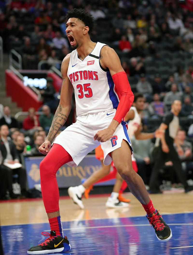 Christian Wood reacts after a dunk against OKC on March 4, 2020 in Detroit.