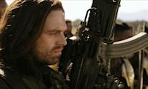 """<p><strong>Played by: </strong>Sebastian Stan<br><span><strong>Last appearance:</strong> </span><i><span>Black Panther</span></i><br><span><strong>What's he up to?</strong> Bucky was dropped off in Wakanda to have his brain reprogrammed so he would no longer be a pawn for Hydra, or villains, who knew the 10 activitation words. Shuri fixes him by creating an algorithm that that would 'reset' his brain and remove the HYDRA programming and leave his memories. <a rel=""""nofollow"""" href=""""https://uk.movies.yahoo.com/black-panther-post-credit-scenes-set-avengers-infinity-war-110754785.html"""" data-ylk=""""slk:In a Black Panther post-credit scene;outcm:mb_qualified_link;_E:mb_qualified_link;ct:story;"""" class=""""link rapid-noclick-resp yahoo-link"""">In a <em>Black Panther</em> post-credit scene</a>, Bucky is up and about and given the nickname White Wolf (a character from the <em>Black Panther</em> comics) by local children. He's still got a way to go before he is fully recovered but it seems Shuri has done wonders on his mind and he'll be ready for action.</span> </p>"""