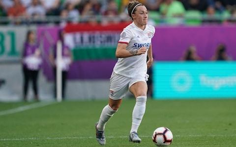 Lucy Bronze of Olympique Lyonnais on the ball during the UEFA Women's Champions League Final between Olympique Lyonnais and FC Barcelona Women at Groupama Arena on May 18, 2019 in Budapest, Hungary - Credit: Getty Images