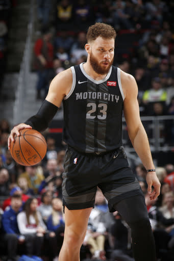 DETROIT, MI - MARCH 15: Blake Griffin #23 of the Detroit Pistons handles the ball during the game against the Los Angeles Lakers on March 15, 2019 at Little Caesars Arena in Detroit, Michigan. (Photo by Brian Sevald/NBAE via Getty Images)