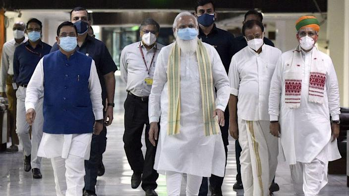 Prime Minister Narendra Modi with Union Ministers arrives to attend an all-party meeting, ahead of the parliament monsoon session.