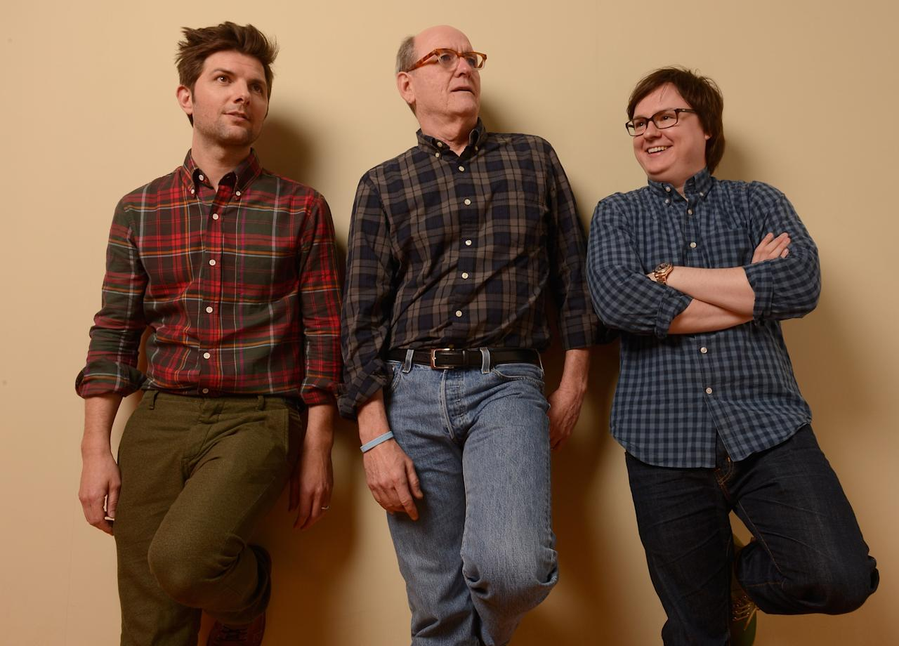 PARK CITY, UT - JANUARY 23:  (L-R) Actors Adam Scott, Richard Jenkins and Clark Duke and pose for a portrait during the 2013 Sundance Film Festival at the Getty Images Portrait Studio at Village at the Lift on January 23, 2013 in Park City, Utah.  (Photo by Larry Busacca/Getty Images)