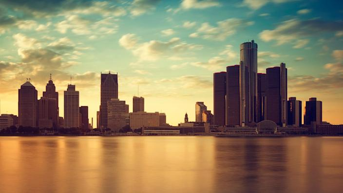 Beautiful skyline of Detroit city, photos taken from Canadian side, Windsor, Ontario.