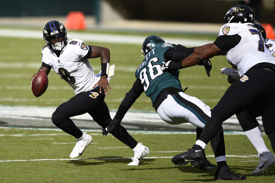 Baltimore Ravens' Lamar Jackson plays during the second half of an NFL football game against the Philadelphia Eagles, Sunday, Oct. 18, 2020, in Philadelphia. (AP Photo/Derik Hamilton)