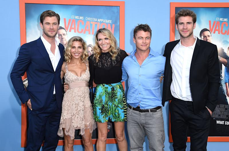"WESTWOOD, CA - JULY 27: Chris Hemsworth, Elsa Pataky, Samantha Hemsworth, Luke Hemsworth and Liam Hemsworth arrives at the Premiere Of Warner Bros. ""Vacation"" at Regency Village Theatre on July 27, 2015 in Westwood, California. (Photo by Steve Granitz/WireImage)"