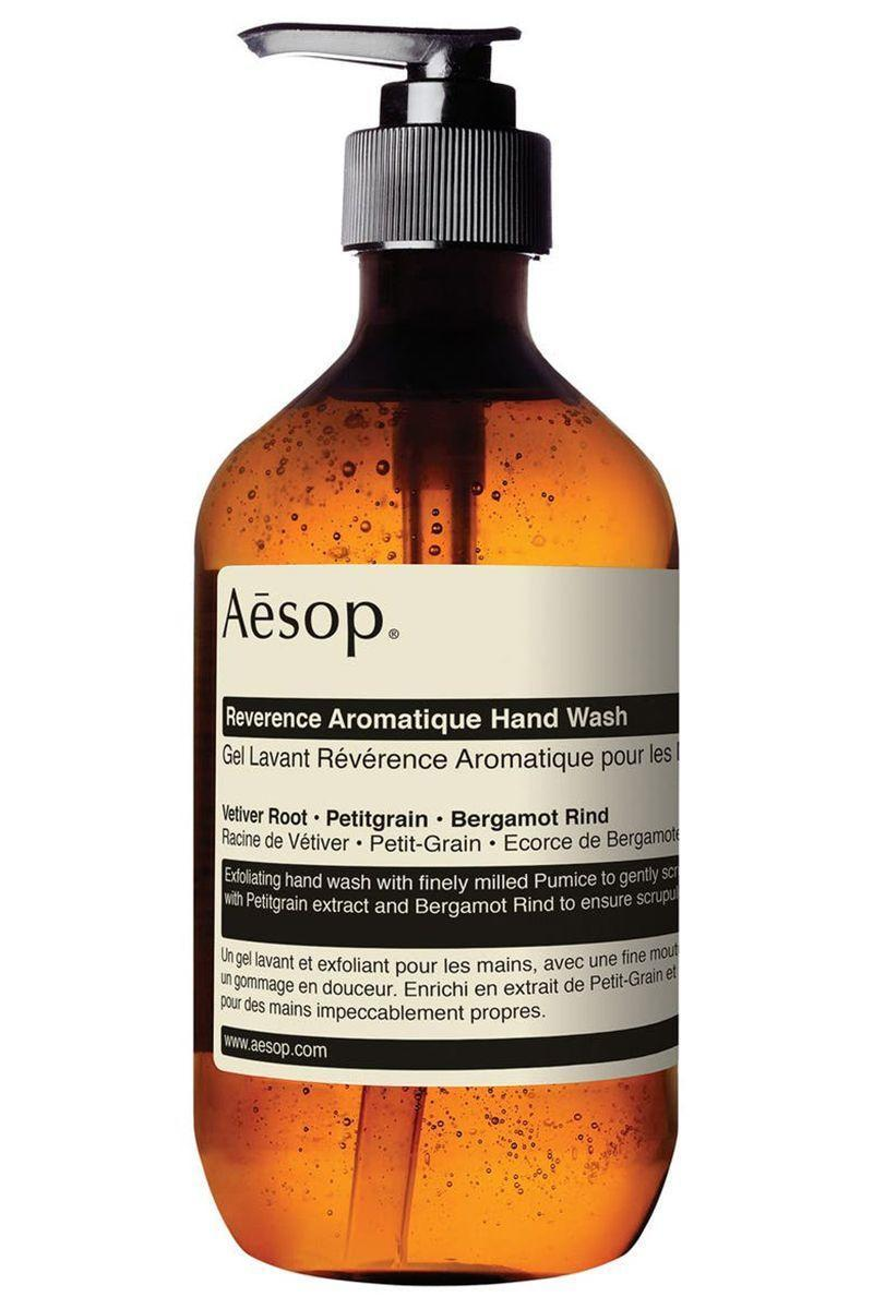 """<p><strong>AESOP Reverence Aromatique Hand Wash</strong></p><p>nordstrom.com</p><p><strong>$39.00</strong></p><p><a href=""""https://go.redirectingat.com?id=74968X1596630&url=https%3A%2F%2Fwww.nordstrom.com%2Fs%2Faesop-reverence-aromatique-hand-wash%2F4365882&sref=https%3A%2F%2Fwww.elle.com%2Fbeauty%2Fmakeup-skin-care%2Fg13968711%2Fbest-hand-soap%2F"""" rel=""""nofollow noopener"""" target=""""_blank"""" data-ylk=""""slk:Shop Now"""" class=""""link rapid-noclick-resp"""">Shop Now</a></p><p>The first time I went over to my boyfriend's apartment, this was the soap sitting by his sink. (With the matching lotion!) I'm not going to say it was love at first sud, but I was certainly impressed. The tiny pieces of pumice gently exfoliate the skin while you're washing hands, which give you the smoothest skin ever—yet it's still gentle enough to use while I'm still having a major eczema flare-up. </p>"""