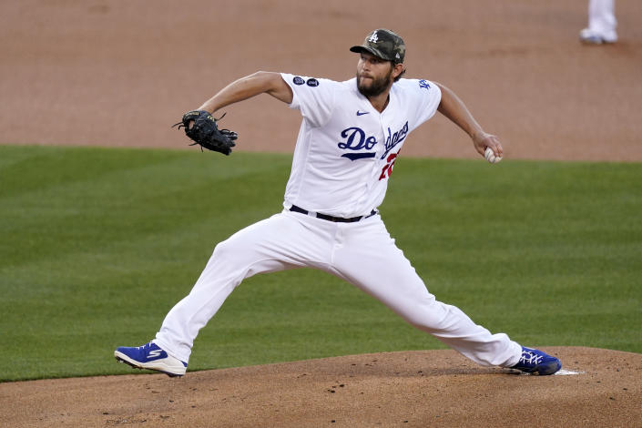 Los Angeles Dodgers starting pitcher Clayton Kershaw throws to the plate during the first inning of a baseball game against the Miami Marlins Friday, May 14, 2021, in Los Angeles. (AP Photo/Mark J. Terrill)