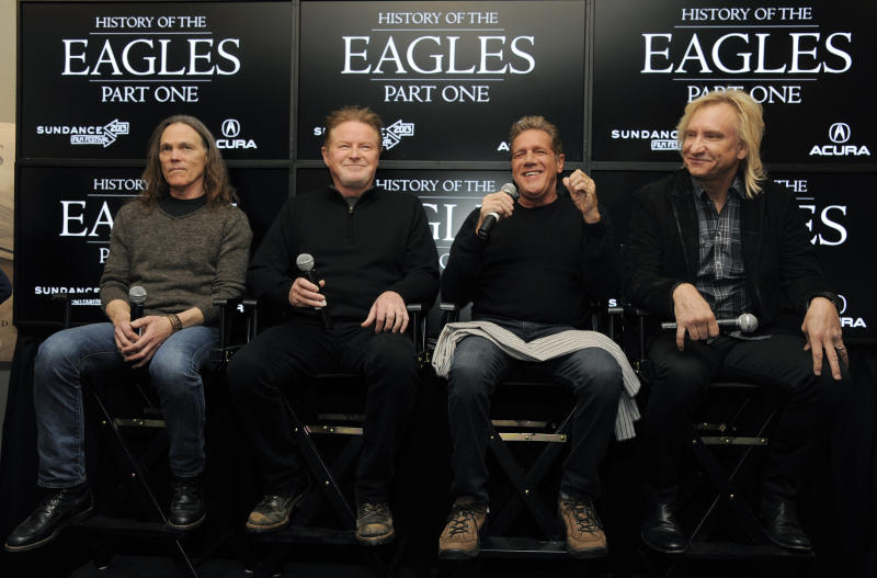 """From left, Timothy B. Schmit, Don Henley, Glenn Frey and Joe Walsh of The Eagles take part in a Q&A session with reporters at the 2013 Sundance Film Festival, Saturday, Jan. 19, 2013, in Park City, Utah. The documentary film """"The History of The Eagles Part 1"""" is being shown at the festival. (Photo by Chris Pizzello/Invision/AP)"""