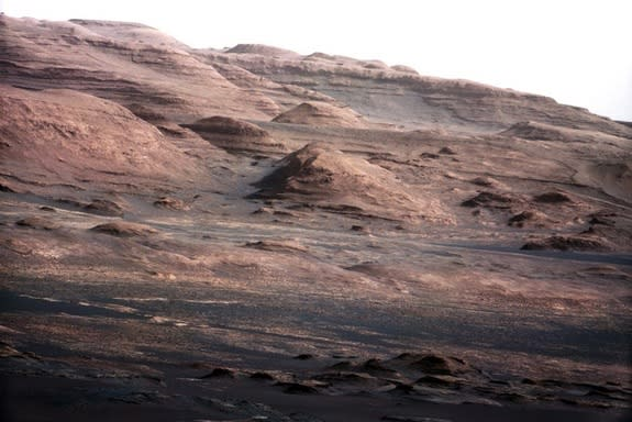 A chapter of the layered geological history of Mars is laid bare in this image from NASA's Curiosity rover. The image shows the base of Mount Sharp, the rover's eventual science destination.