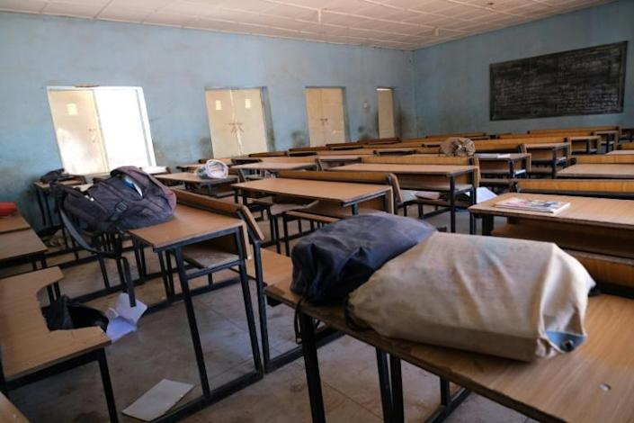Empty: A classroom at the Government Science secondary school in Kankara, where gunmen abducted hundreds of students