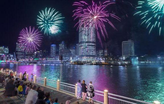 Queensland's capital city will see two sets of 10-minute fireworks over the Brisbane River to ring in the new year. Source: Brisbane Marketing