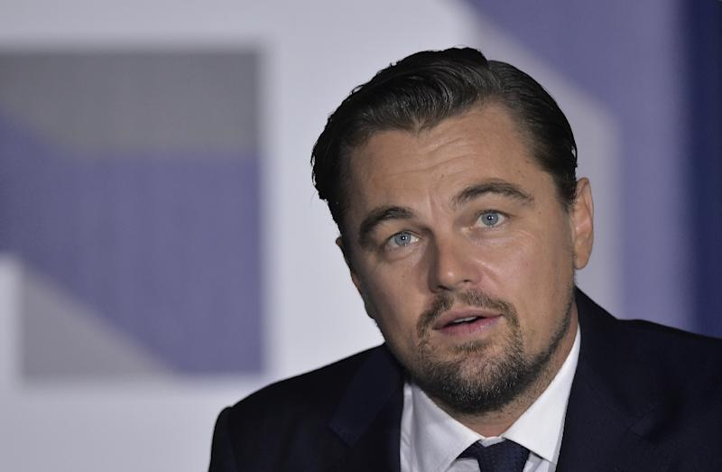 "Actor Leonardo DiCaprio speaks during a discussion on climate change during the ""South by South Lawn"" festival on the South Lawn of the the White House on October 3, 2016 in Washington, DC"