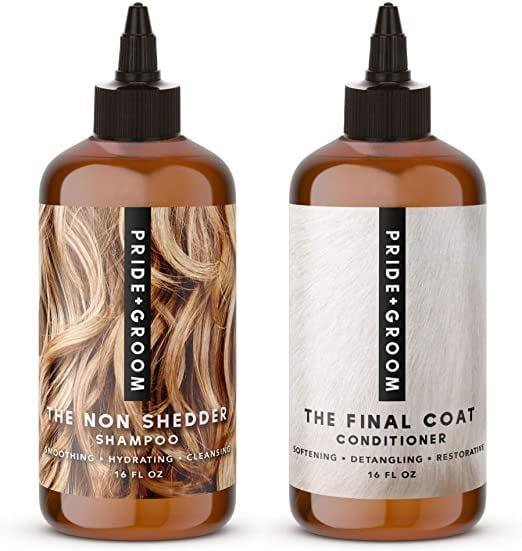 <p><span>PRIDE AND GROOM The Non Shedder Box Set, Bottle of Pet Shampoo and Conditioner</span> ($48)</p>