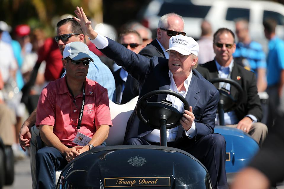 Donald Trump makes an appearance prior to the start of play during the final round of the World Golf Championships-Cadillac Championship at Trump National Doral Blue Monster Course  on March 6, 2016 in Doral, Florida.   (Getty Images)