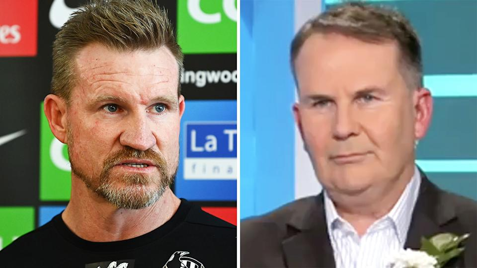 Nathan Buckley had a terse exchange with AFL reporter Tony Jones during a press conference announcing his decision to step down from his position as coach of Collingwood. Pictures: Getty Images/Channel 9