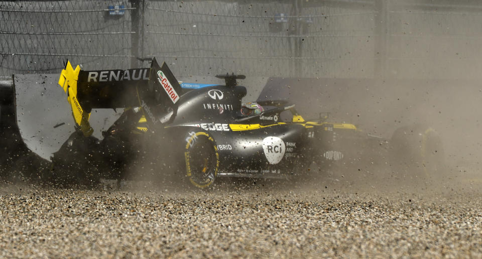 Renault driver Daniel Ricciardo of Australia crashes into the barriers during the second practice session for the Styrian Formula One Grand Prix at the Red Bull Ring racetrack in Spielberg, Austria, Friday, July 10, 2020. The Styrian F1 Grand Prix will be held on Sunday. (Leonhard Foeger/Pool via AP)