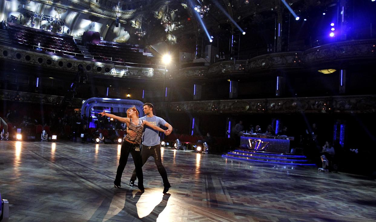 Harry Judd and Aliona Vilani rehearse at the Blackpool Tower Ballroom ahead of the final of the BBC programme Strictly Come Dancing.