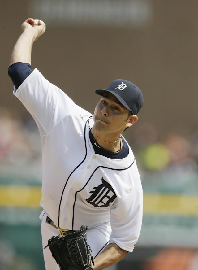 Detroit Tigers starting pitcher Anibal Sanchez throws during the seventh inning of an interleague baseball game against the Colorado Rockies, Sunday, Aug. 3, 2014, in Detroit. (AP Photo/Carlos Osorio)