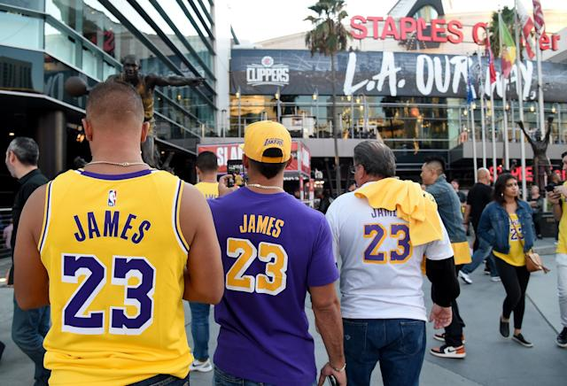The NBA's season-opener in Los Angeles was not without some mention of Hong Kong. (Photo by Harry How/Getty Images)