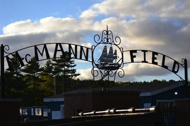 Morse High plays at McMann Field, which has an appropriate entry gate — WLBZ screenshot