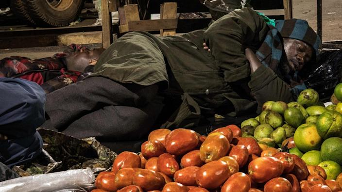 Stall holders in Uganda's capital, Kampala, were asked to sleep with their produce during the lockdown to prevent them moving around
