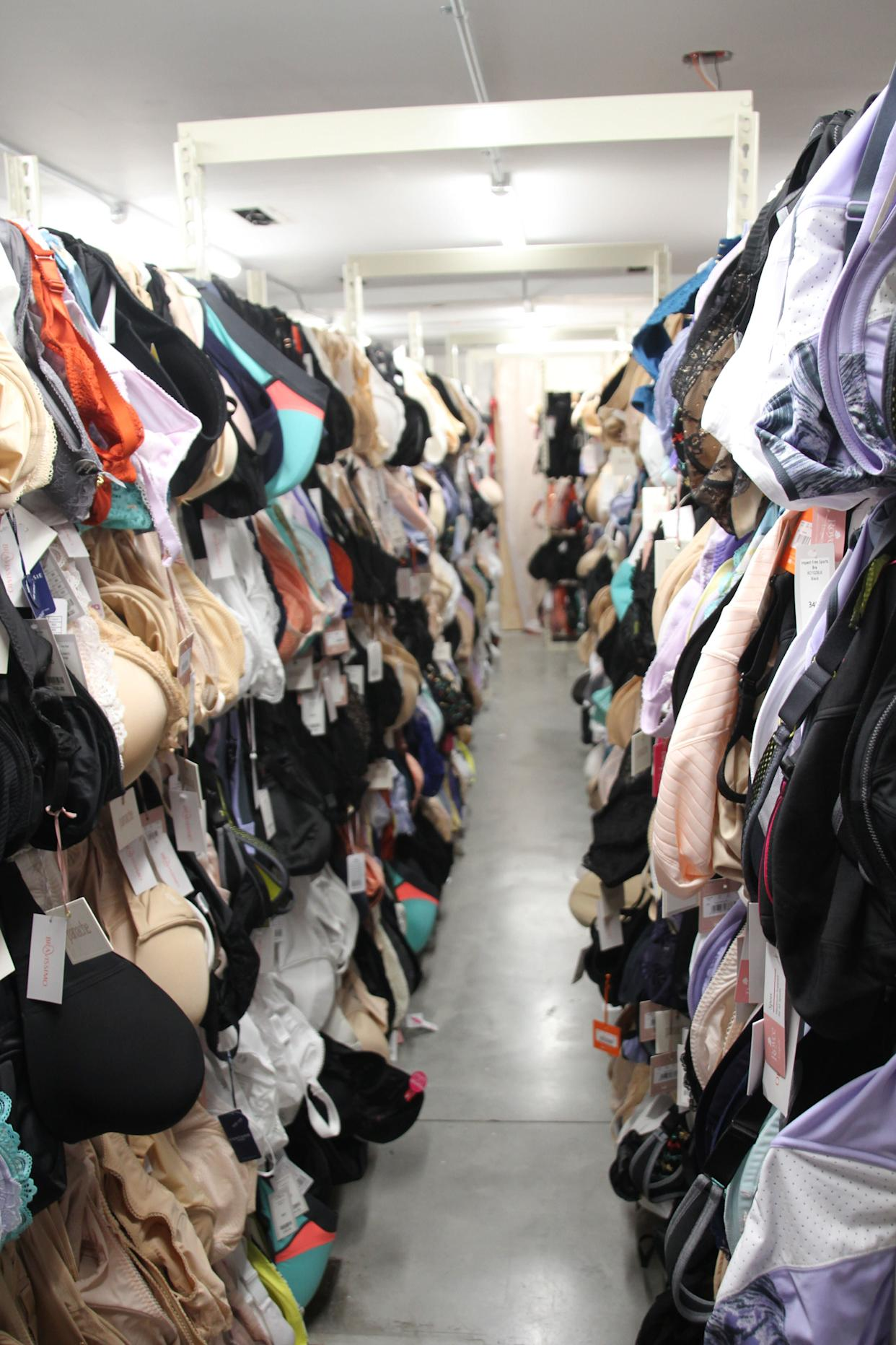 Bravissimo's stock room in New York City includes bras in cup sizes ranging all the way up to L. (Photo: Bravissimo)