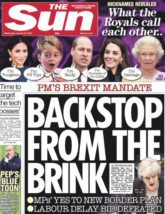 <p>The Sun says 'Backstop from the Brink' and adds Mrs May now has 'wind in her sails' following the amendment victories on Tuesday. (Twitter) </p>