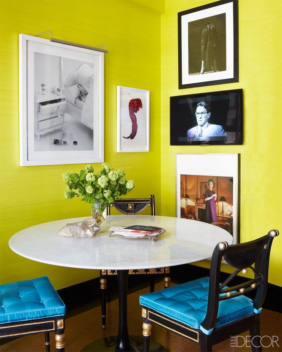 <p>A fashionable combination of white, black, and blue pulls this lime green kitchen nook together. </p>