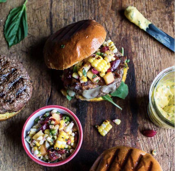 "<strong>Get the <a href=""https://www.halfbakedharvest.com/brie-stuffed-burgers-with-sweet-chili-corn-salsa-4th-of-july-eats/"" target=""_blank"" rel=""noopener noreferrer"">Brie-Stuffed Burgers with Sweet Chili Corn Salsa recipe</a> from Half Baked Harvest</strong>"
