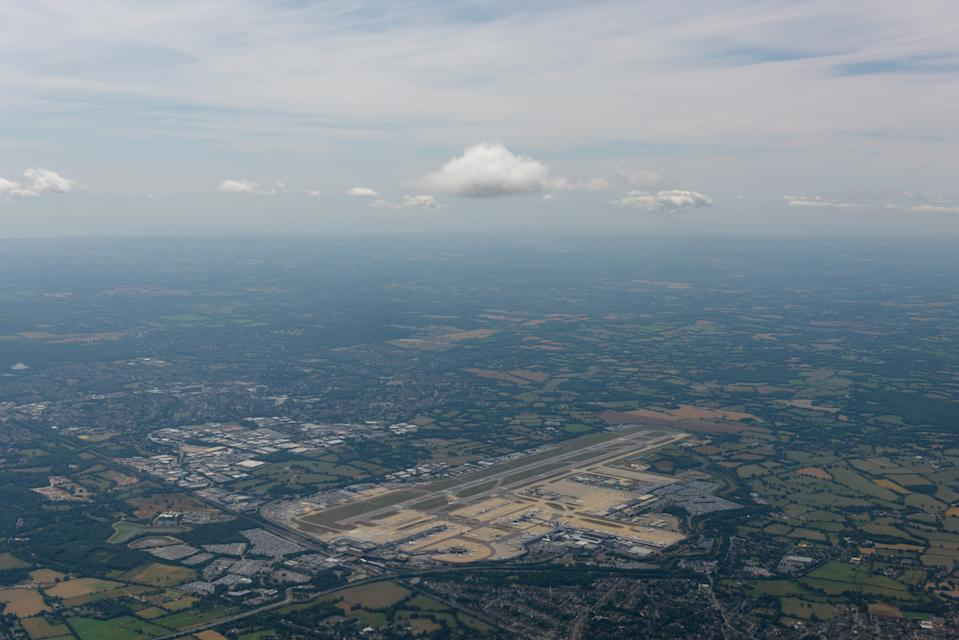 View towards the London Gatwick airort, Cawley and Horley from the air