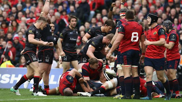A record-equalling 17th European Champions Cup match without defeat against Munster put Saracens one match away from retaining the title.