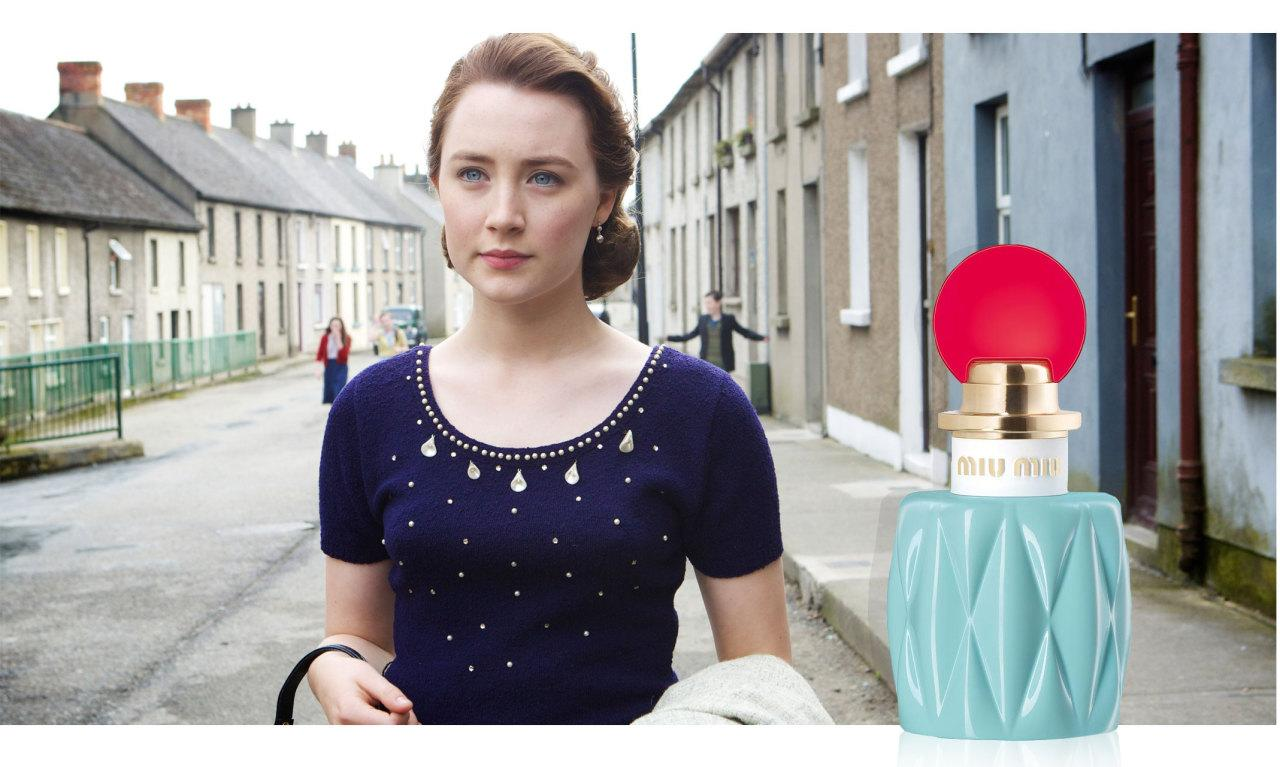 "<p>Lily, star anise, and jasmine petal are all notes in this youthful, feminine, and sophisticated scent by <b>Miu Miu</b> — embodying Saoirse Ronan's character in <i>Brooklyn</i>.</p><p><i>Miu Miu Eau de Parfum, $88, <a href=""http://www.neimanmarcus.com/Miu-Miu-Miu-Miu-Eau-de-Parfum-50-mL/prod182190050/p.prod"">neimanmarcus.com</a>. (Photo: Fox Searchlight Pictures)</i><br /><br /></p>"