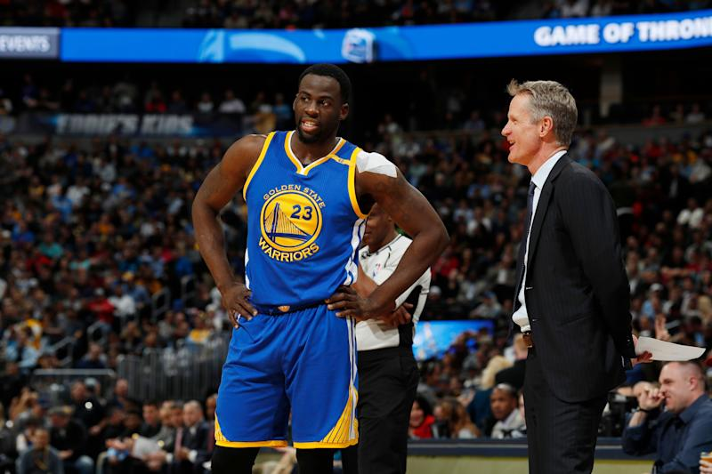 Draymond Green has no problems with Steve Kerr following his outburst. (AP Photo/David Zalubowski)