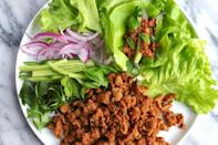 """<p>Try this fun take on a popular Thai dish whenever you're looking to get more fresh veggies in your diet. Don't skimp on the herbs!</p><p><strong>Get the recipe at <a href=""""https://www.thehungryhutch.com/ground-turkey-lettuce-wraps-recipe/"""" rel=""""nofollow noopener"""" target=""""_blank"""" data-ylk=""""slk:The Hungry Hutch"""" class=""""link rapid-noclick-resp"""">The Hungry Hutch</a>.</strong><strong><br></strong></p>"""