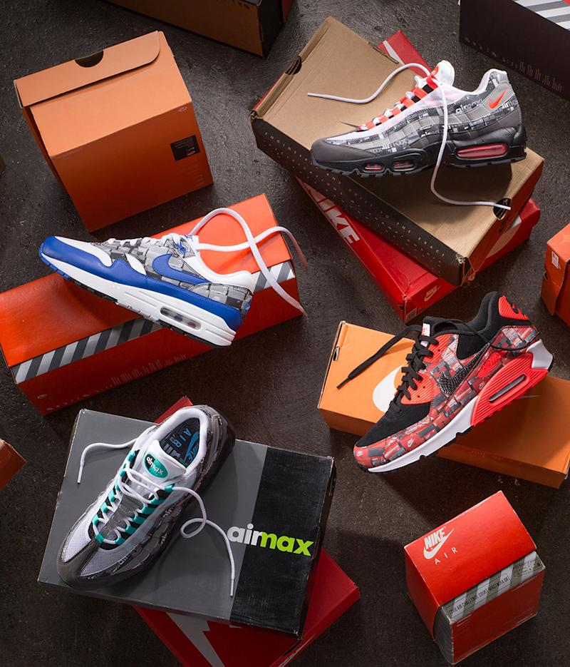Atmos Adds Stacked Shoe Box Prints to 3 Iconic Nike Air Max