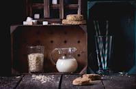 """<p>Oat milk, a type of plant milk derived from whole oat grains, has had a health halo around it since it came out on the scene a few years ago. But drinking oat milk isn't the same as eating a bunch of oats, points out Julie Upton, R.D., co-founder of nutrition website <a href=""""http://appforhealth.com/"""" rel=""""nofollow noopener"""" target=""""_blank"""" data-ylk=""""slk:Appetite for Health"""" class=""""link rapid-noclick-resp"""">Appetite for Health</a>. It also tends to be higher in calories and fat than your average milk, and has less protein than cow's milk.</p>"""