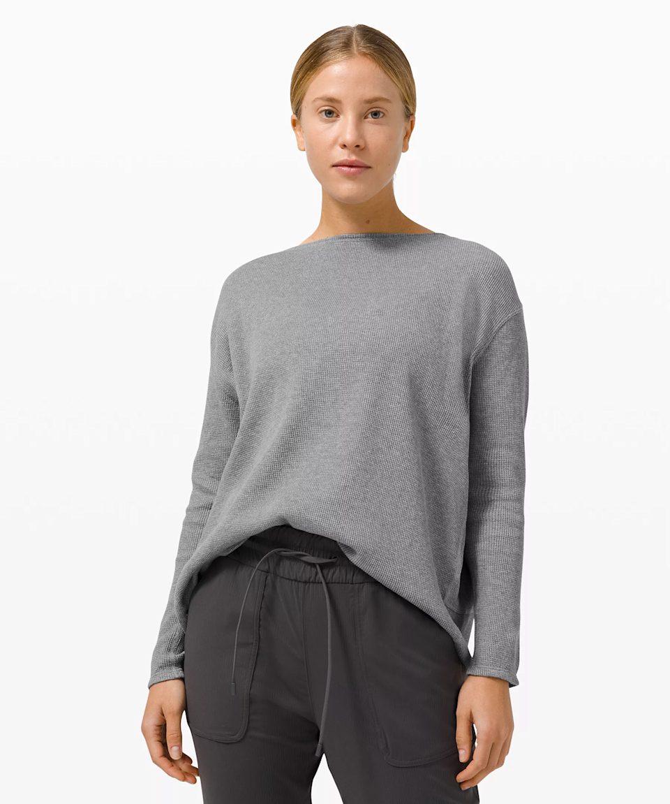 """<h3><h2>Lululemon Back In Action Long-Sleeve Waffle</h2></h3><br><strong>Available Sizes: 0-14</strong><br>Lululemon made this Back In Action Top with movement in mind. It's lightweight in construction, buttery soft, and boasts moisture-wicking capabilities that make it ideal for a quick walk or errand run. <br><br><em>Shop <strong><a href=""""https://shop.lululemon.com/p/tops-long-sleeve/Back-In-Action-Ls-Waffle/_/prod10420100"""" rel=""""nofollow noopener"""" target=""""_blank"""" data-ylk=""""slk:Lululemon"""" class=""""link rapid-noclick-resp"""">Lululemon</a></strong></em><br><br><strong>lululemon</strong> Back In Action Long SleeveWaffle, $, available at <a href=""""https://go.skimresources.com/?id=30283X879131&url=https%3A%2F%2Fshop.lululemon.com%2Fp%2Ftops-long-sleeve%2FBack-In-Action-Ls-Waffle%2F_%2Fprod10420100%3Fcolor%3D31045"""" rel=""""nofollow noopener"""" target=""""_blank"""" data-ylk=""""slk:lululemon"""" class=""""link rapid-noclick-resp"""">lululemon</a>"""