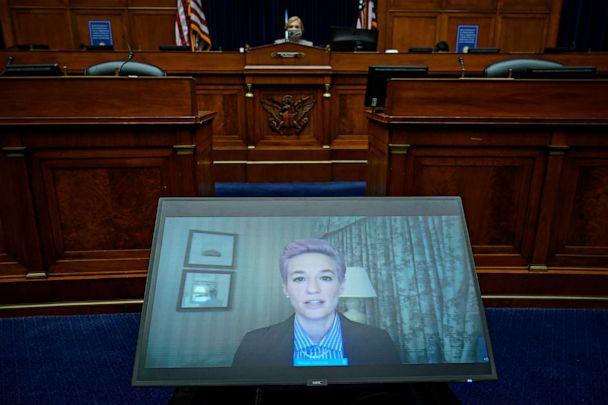 PHOTO: Megan Rapinoe of the U.S. Women's National Soccer Team testifies virtually during a House Oversight Committee hearing  on Capitol Hill on March 24, 2021, in Washington. (Drew Angerer/Getty Images)