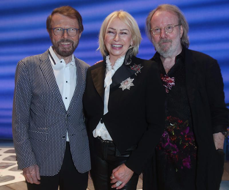 Theatre producer Judy Craymer backstage with Benny Andersson (right) and Bjorn Ulvaeus, after a performance of the musical Mamma Mia!. (Photo by Yui Mok/PA Images via Getty Images)