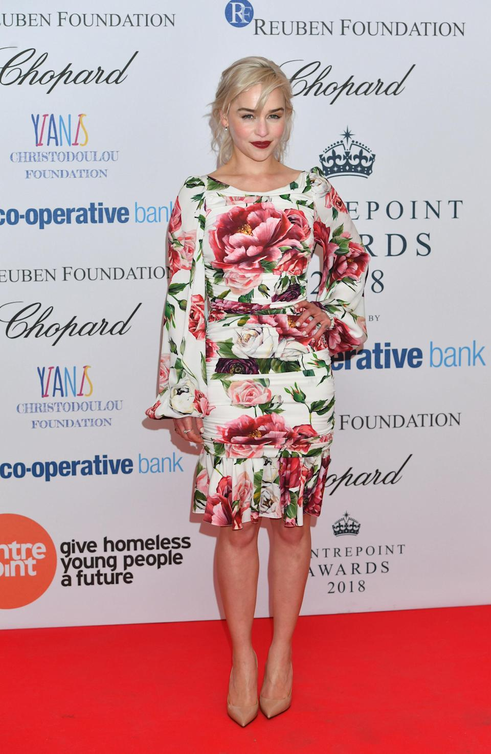 <p>The 'Game of Thrones' star opted to wear a floral Dolce & Gabbana dress for the awards. <em>[Photo: Getty] </em> </p>