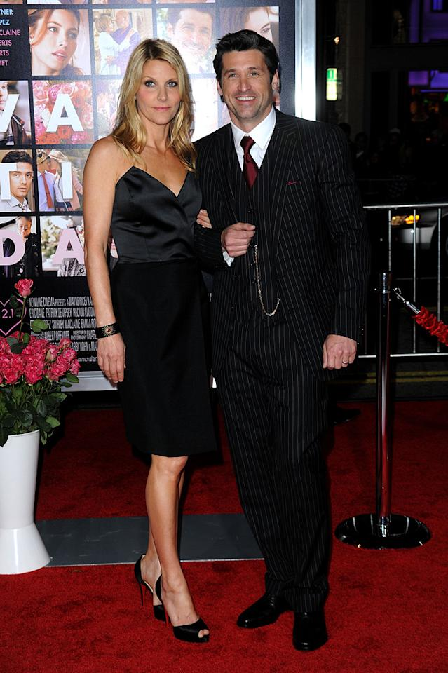 """<a href=""""http://movies.yahoo.com/movie/contributor/1800043748"""">Patrick Dempsey</a> and wife Jillian at the Los Angeles premiere of <a href=""""http://movies.yahoo.com/movie/1810094501/info"""">Valentine's Day</a> - 02/08/2010"""