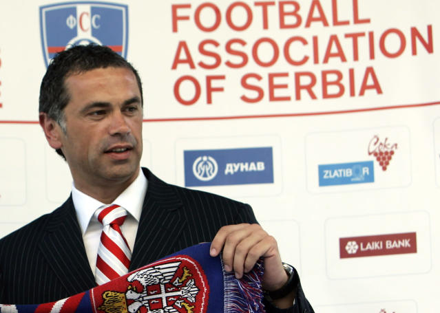 FILE - In this July 21, 2006 file photo, Red Star Belgrade soccer club director Zvezdan Terzic poses in Belgrade, Serbia. Terzic says he has tested positive for the coronavirus, days after the Serbian champions played matches in front of thousands of fans despite the pandemic. (AP Photo/Darko Vojinovic, File)