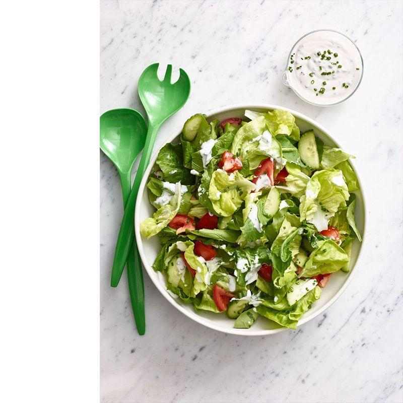 """<p>You simply can't go wrong with this crisp salad, which features a rich, homemade ranch dressing.</p><p><a href=""""https://www.womansday.com/food-recipes/food-drinks/recipes/a13254/salad-creamy-ranch-dressing-wdy0315/"""" rel=""""nofollow noopener"""" target=""""_blank"""" data-ylk=""""slk:Get the Salad With Creamy Ranch Dressing recipe."""" class=""""link rapid-noclick-resp""""><em>Get the Salad With Creamy Ranch Dressing recipe.</em></a></p>"""