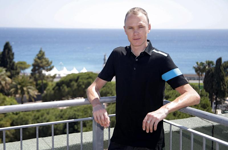Cyclist Chris Froome of Team Sky poses for photographers before a meeting with journalists in Nice, southern France, Tuesday, June 18, 2013. Chris Froome will take part to the next Tour de France cyclist 2013 , starting on June 29 from Corsica island. (AP Photo/Lionel Cironneau)