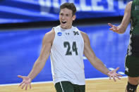 Hawaii's Colton Cowell (24) celebrates after a point against BYU during the NCAA men's volleyball championship match Saturday, May 8, 2021, in Columbus, Ohio. (AP Photo/David Dermer)