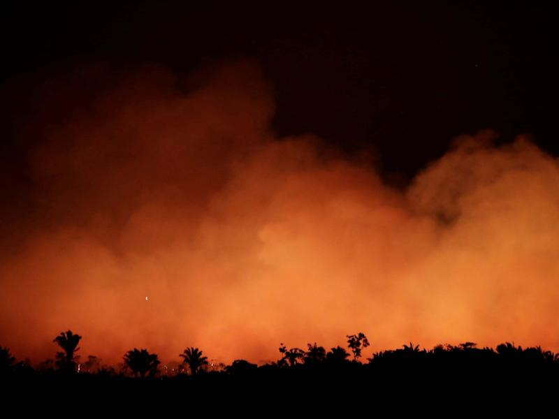 Smoke billows during a fire in the Amazon: Reuters