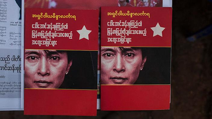 Books featuring the face of Aung San Suu Kyi in Myanmar after her party won elections in November 2015