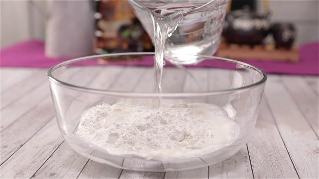 Pouring water into rice flour